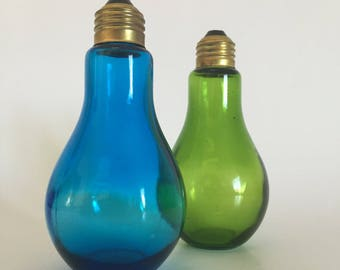 Salt and Pepper Set; Vandor Japan Blue and Green Glass Light Bulb Salt & Pepper Shaker Set; Light Bulb Shakers; Glass Salt and Pepper Set