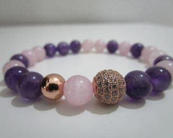 Amethyst and Rose Quartz bracelet, bracelets, jewelry, natural stone, bracelet for women, gift for woman, rose gold, Natural stone bracelets