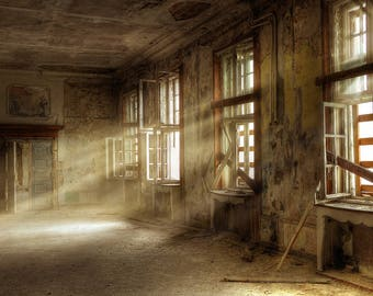 Old House Backdrop - grunge room, broken window, sunshine - Printed Fabric Photography Background w0895