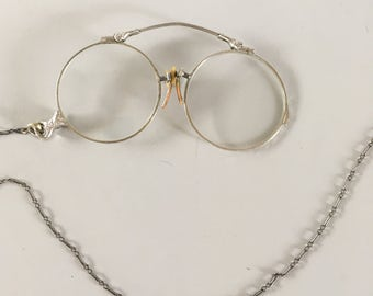Antique Gold Filled Pince Nez Glasses with Silver Chain