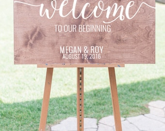 Welcome to our beginning, Wedding welcome sign, Wooden Welcome Sign, Welcome sign for wedding, Wooden Welcome Sign, wood weddign signs
