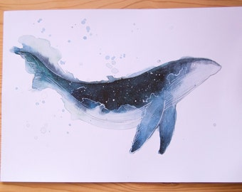 Watercolor Whale Print