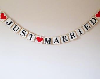 Just Married Bunting, Wedding Decoration, Wedding banner