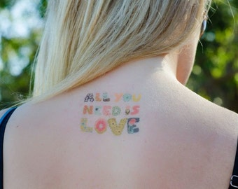 All You Need Is Love - Temporary Tattoos // Quote Series // Inspirational // Tumblr Style // Life Quotes