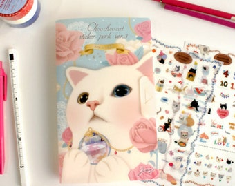 Jetoy Choo Choo Cat #1 (8 sheets) // Stickers // Planners //  Laptop Stickers  // Scrapbooking Essentials