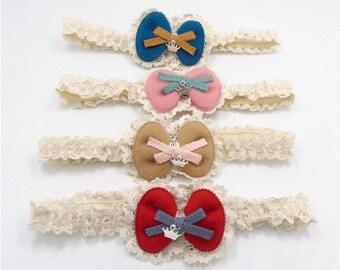 Ivory Lace Headband with Bow Center