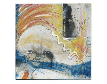 Wall picture 15/15 cm (5.9/5.9 inch) original, handmade in mixed media, acrylic ink