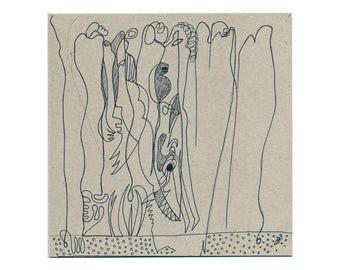 Original drawing 20/20 cm (7.87/7.87 inches) Handgezeichnetes unique / hand drawing art