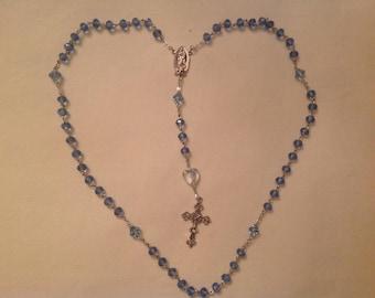 Light Blue Crystal Rosary