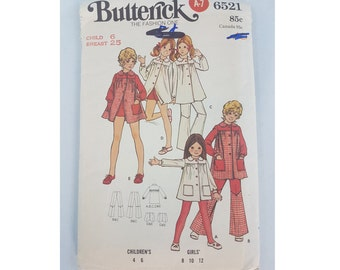 Vintage Sewing Pattern, 1970 Butterick 6521, Chid Size 6, Girls patterns, mid century clothing pattern