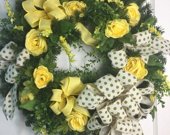 Yellow Rose Spring/Summer Door Wreath