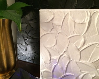 """Original Textured Canvas Painting in Pearl and White from the """"Floral"""" Collection, by Patricia Shea, Artist"""