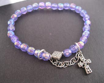 AB Light Purple, Amethyst Crystal Bracelet with Silver Cross