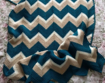 Handmade Crocheted Blanket - Handmade Crocheted Throw with Multicolored Zigzag Pattern
