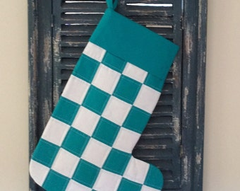 Christmas Stocking - Quilted Patchwork Christmas Stocking (Turquoise and White) - Stocking - Patchwork Stocking - Quilted Stocking