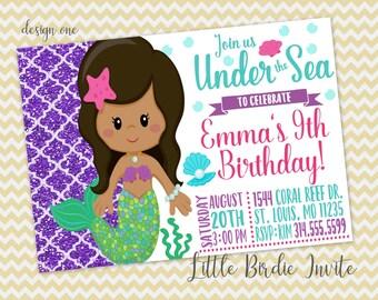 Mermaid Birthday Invitation, Under the Sea Birthday Invitation, Printable Mermaid Invitation, Digital Mermaid Invitation, Glitter Invitation