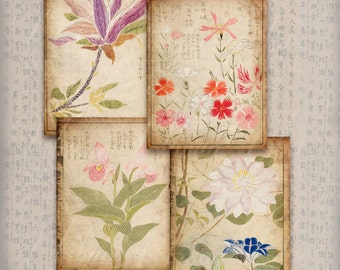 Journaling Cards - Oriental Blossoms, Printable INSTANT DOWNLOAD