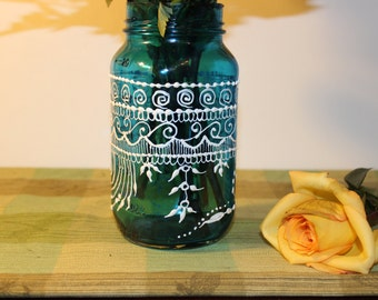 Bohemian Vase  Lantern, Moson Jar Candle Holder with Ombre tinted Glass and Hand Painted White  Detailing , Moroccan Mason Jar Lantern