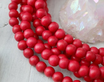 Red Wood Beads, 8mm Beads, 8mm Red Wood Beads, Dark Red, Red Beads, 8mm Wood Beads, Waxed Wood Beads, Natural Wood Beads,