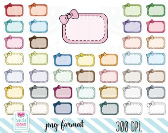 Stitched Half Box with a bow Clipart. Planner Stickers Clipart. Personal and comercial use.
