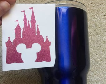 Small disney castle decal with mickey head