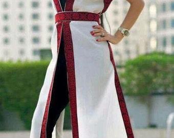 White sleeveless chiffon jacket / vest /shrug / Kimono with red Palestinian embroidery / cross stitch