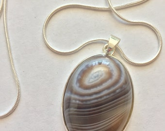 Natural Earth Tone Lace Agate Pendant Necklace Sterling Silver