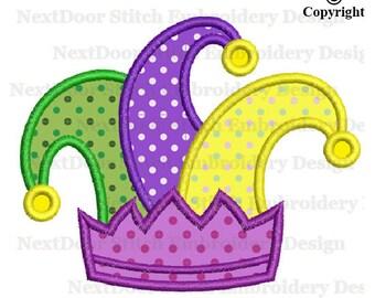 Mardi Gras Jester hat applique design, jester embroidery file,  mardi-001