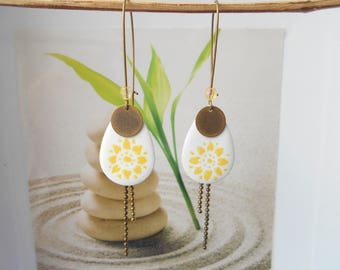 bronze drop earrings white and yellow