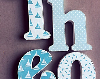 nautical wooden letters, free standing letters, wall hanging decorations, baby Shower letters, personalised letters, decorated Letters,