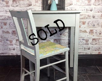SOLD. Vintage 1950s school desk and chair made by ESA McIntosh British furniture manufacturers