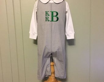 Boys Longall, Personalized Monogrammed Boys Longall Jon Jon, Gray Gingham with Fabric Covered Buttons
