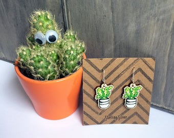 Cactus earrings, wooden charm jewellery Sterling Silver hooks, unique green white gift for plant lover, gardener, laser cut lightweight UK