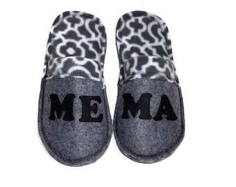 Charcoal Gray Women Slippers, Personalize Ladies House Shoes, Grandma, Mom, Custom Gift for Her, Felt Slipper Scuffs w/Fleece Lining