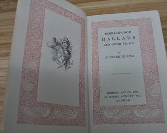 Antique Kipling Book. Barrack Room Ballads by Rudyard Kipling. Vintage Book 1917. Hardcover.