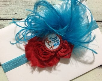 Cat in The Hat Headband ,Baby Headband ,Blue and Red Headband ,Cat in The Hat Hair Bow ,Newborn Headband,Dr Seuss Headband