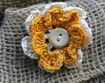 Yellow and White Flower Hair Clip