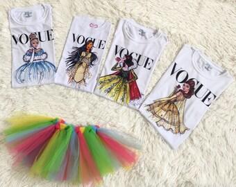 Girl's Vogue Disney Princess Shirt - Kids Disney Vogue Princess Shirt - Babies Disney Vogue Princess Shirt