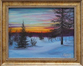 "Oil painting ""Winter sunset"", framed, ready to hang"