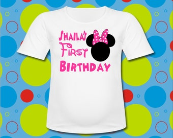 Personalized Pink Minnie Mouse ears 1st Birthday T shirt All Sizes Minnie Mouse First Birthday T Shirt