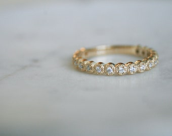 Scallop Wedding Band, Yellow Gold and Diamond Wedding Band