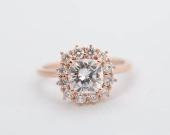Cushion Halo, Halo Engagement Ring, Engagement Ring, Wedding Ring, Bridal Ring, Diamond Ring, Moissanite Ring, Gold Ring