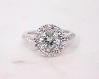 Round Halo, Halo Engagement Ring, Engagement Ring, Wedding Ring, Bridal Ring, Diamond Ring, Moissanite Ring, Gold Ring