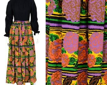 Vintage Late 1960's women's M or 8 Mandarin Collar Psychedelic Print Maxi Dress Handmade