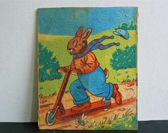 Vintage Jigsaw Puzzle Tower Press Jig Saw British Newnham // Interlocking British Rabbit puzzle // Perfect for framing