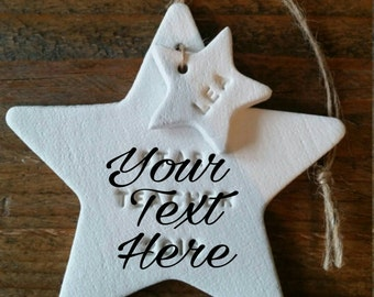 Personalized Star Ornament ~ First Christmas Ornament ~ Clay Ornament ~ Clay Christmas Ornament ~ Christmas Decor ~ Christmas Gift