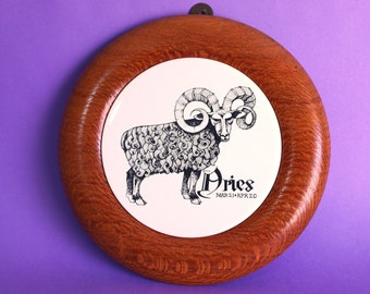 Vintage Wooden Zodiac Aries Cheese Board Ram Ceramic Tile - 70s Birthday Wall Hanging - by Gary Beck
