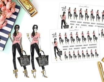 Girl Boss Deco 2 Stickers (matte planner stickers, Filofax, Kikki K, Websters Pages, Color Crush, Erin Condren, Mambi Happy Planner)