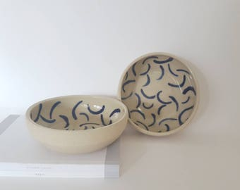 Smudge Bowls - blue Hockney inspired patterned dishes. Hand made and painted ceramics.