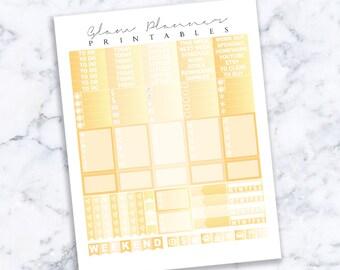 Printable Planner Stickers: Gold Foil (Erin Condren Life Planner PDF)